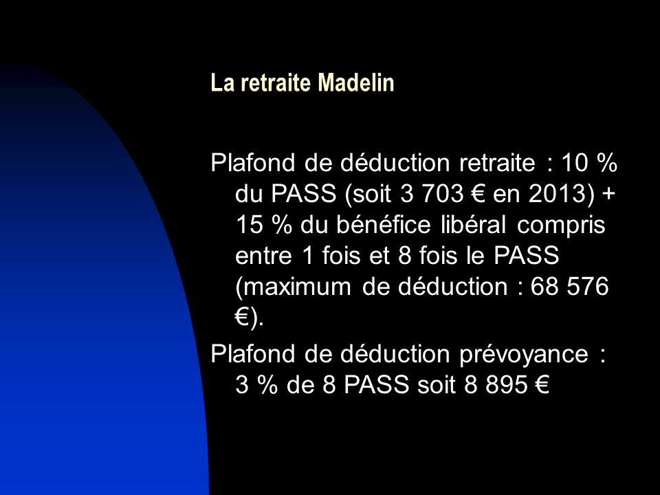 La retraite Madelin Plafond de déduction retraite : 10 % du PASS (soit 3 703 en 2013) + 15 % du bénéfice libéral compris entre 1 fois et 8 fois le PASS (maximum de déduction : 68 576 ).