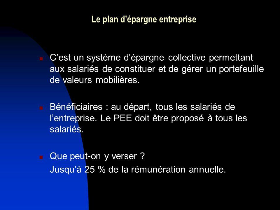 Le plan dépargne entreprise Cest un système dépargne collective permettant aux salariés de constituer et de gérer un portefeuille de valeurs mobilières.