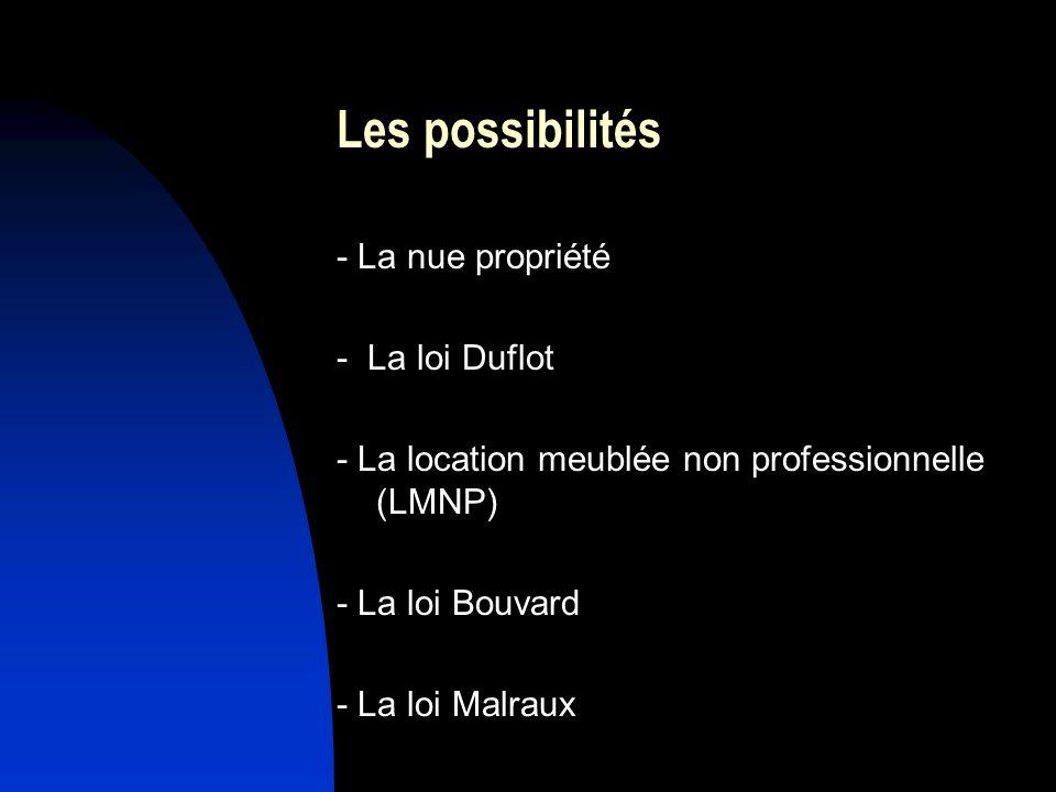 Les possibilités - La nue propriété - La loi Duflot - La location meublée non professionnelle (LMNP) - La loi Bouvard - La loi Malraux