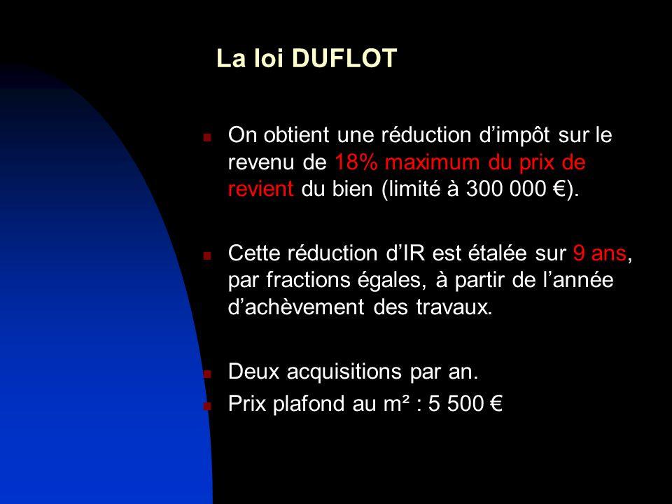 La loi DUFLOT On obtient une réduction dimpôt sur le revenu de 18% maximum du prix de revient du bien (limité à 300 000 ).