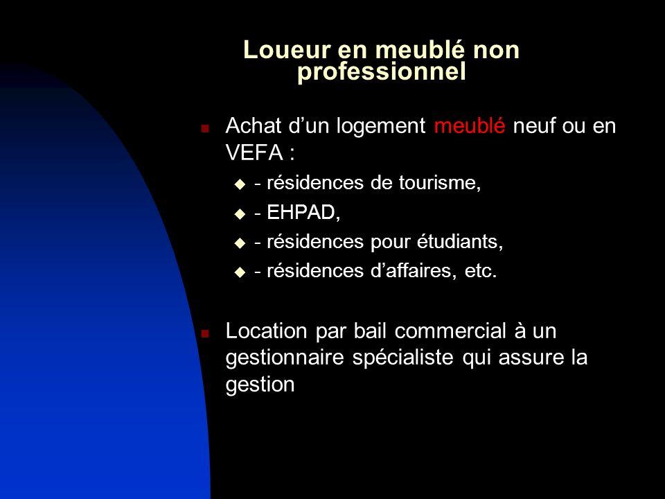 Loueur en meublé non professionnel Achat dun logement meublé neuf ou en VEFA : - résidences de tourisme, - EHPAD, - résidences pour étudiants, - résidences daffaires, etc.