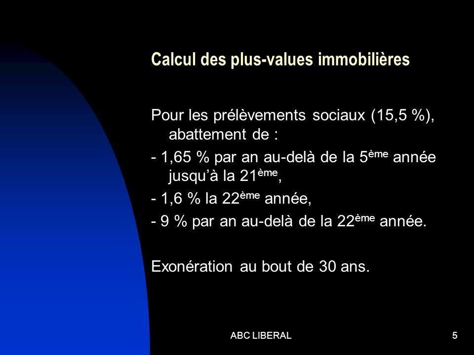 Calcul des plus-values immobilières Pour les prélèvements sociaux (15,5 %), abattement de : - 1,65 % par an au-delà de la 5 ème année jusquà la 21 ème, - 1,6 % la 22 ème année, - 9 % par an au-delà de la 22 ème année.