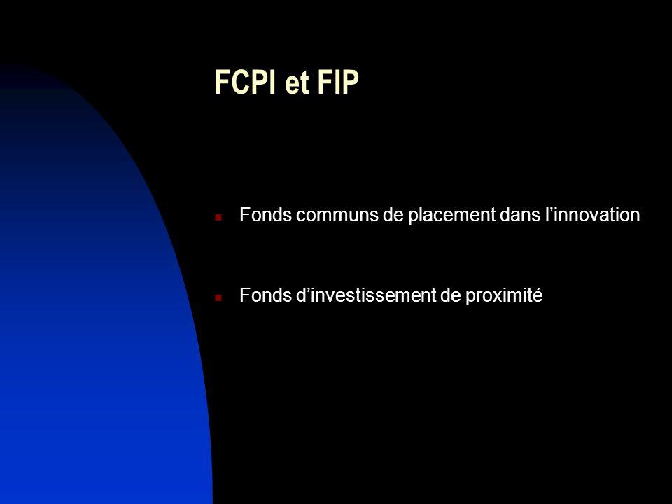 FCPI et FIP Fonds communs de placement dans linnovation Fonds dinvestissement de proximité