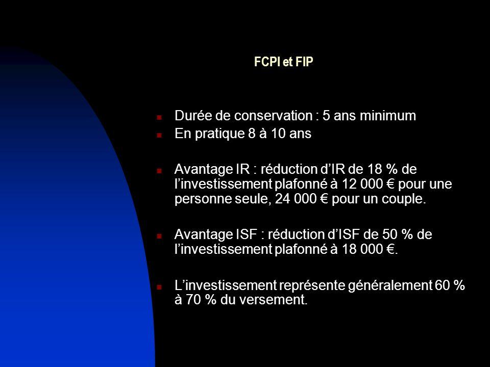 FCPI et FIP Durée de conservation : 5 ans minimum En pratique 8 à 10 ans Avantage IR : réduction dIR de 18 % de linvestissement plafonné à 12 000 pour une personne seule, 24 000 pour un couple.