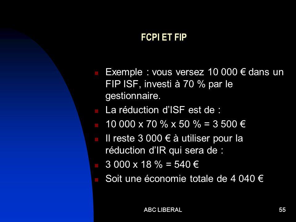FCPI ET FIP Exemple : vous versez 10 000 dans un FIP ISF, investi à 70 % par le gestionnaire. La réduction dISF est de : 10 000 x 70 % x 50 % = 3 500