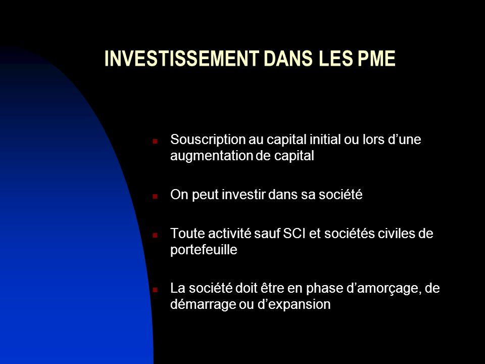 INVESTISSEMENT DANS LES PME Souscription au capital initial ou lors dune augmentation de capital On peut investir dans sa société Toute activité sauf