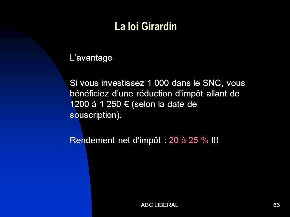 ABC LIBERAL63 La loi Girardin - Lavantage - Si vous investissez 1 000 dans le SNC, vous bénéficiez dune réduction dimpôt allant de 1200 à 1 250 (selon la date de souscription).