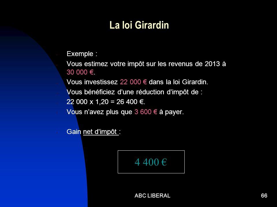 ABC LIBERAL66 La loi Girardin - Exemple : - Vous estimez votre impôt sur les revenus de 2013 à 30 000. - Vous investissez 22 000 dans la loi Girardin.