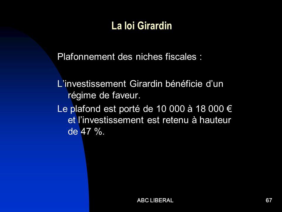 ABC LIBERAL67 La loi Girardin Plafonnement des niches fiscales : Linvestissement Girardin bénéficie dun régime de faveur. Le plafond est porté de 10 0