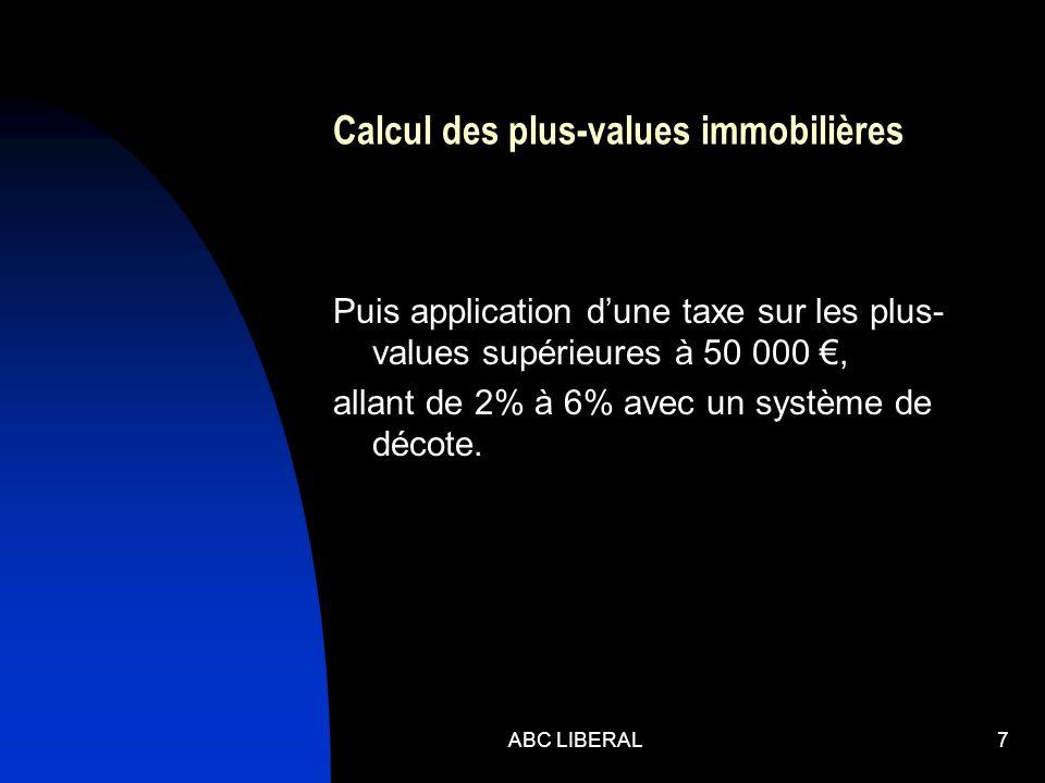 Calcul des plus-values immobilières Puis application dune taxe sur les plus- values supérieures à 50 000, allant de 2% à 6% avec un système de décote.