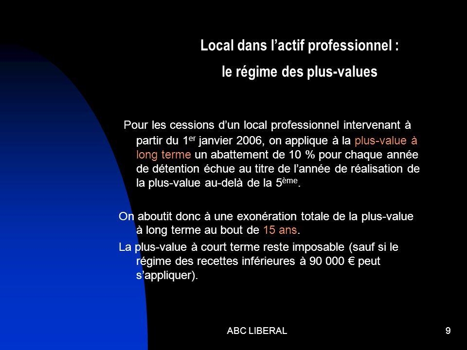 9 Local dans lactif professionnel : le régime des plus-values Pour les cessions dun local professionnel intervenant à partir du 1 er janvier 2006, on