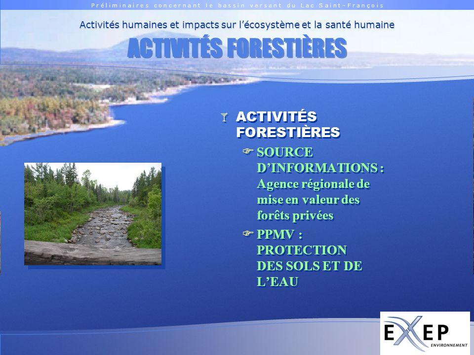 P r é l i m i n a i r e s c o n c e r n a n t l e b a s s i n v e r s a n t d u L a c S a i n t – F r a n ç o i s Logo EXXEP ACTIVITÉS FORESTIÈRES SOURCE DINFORMATIONS : Agence régionale de mise en valeur des forêts privées PPMV : PROTECTION DES SOLS ET DE LEAU ACTIVITÉS FORESTIÈRES SOURCE DINFORMATIONS : Agence régionale de mise en valeur des forêts privées PPMV : PROTECTION DES SOLS ET DE LEAU Activités humaines et impacts sur lécosystème et la santé humaine