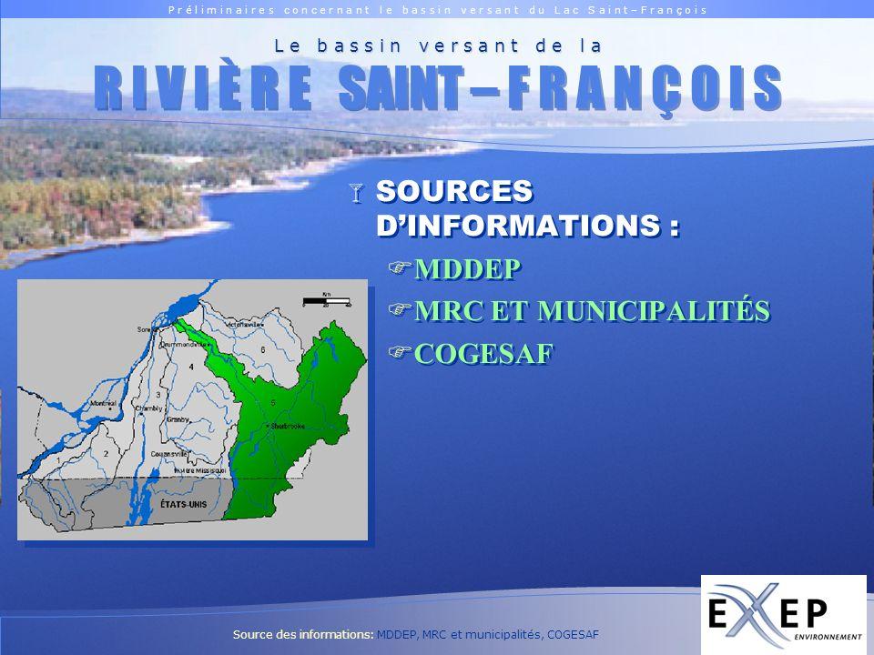 P r é l i m i n a i r e s c o n c e r n a n t l e b a s s i n v e r s a n t d u L a c S a i n t – F r a n ç o i s Logo EXXEP ACTIVITÉS URBAINES Région administrative MRC Chaudière-Appalaches Chaudière-Appalaches (12) LAmiante Beauce-Sartigan Estrie Estrie (05) Le Granit Le Haut-St-François