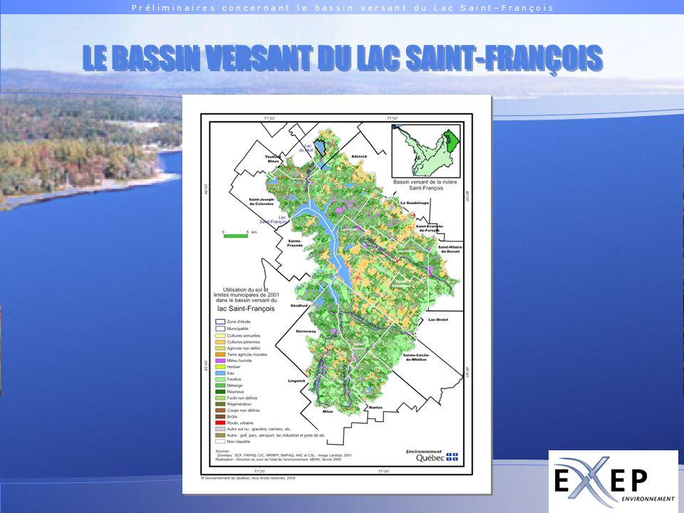 P r é l i m i n a i r e s c o n c e r n a n t l e b a s s i n v e r s a n t d u L a c S a i n t – F r a n ç o i s Logo EXXEP PRINCIPALES CARACTÉRISTIQUES Superficie du bassin (sans le lac) 1 191 km 2 Grand bassin versant avec une forte occupation du sol par la forêt; Occupation du sol approximative : 80,4 % Forêt – 11,5 % Agriculture – 0,4 % Urbain 0,8 % Milieux humides – 0,8 % Villégiature 1,6 %Eau – 0,5 % Autres Superficie du lac 49 km 2 Le lac occupe seulement 4,10 % du territoire et est caractérisé par des rives découpées et par la présence dimportantes baies.