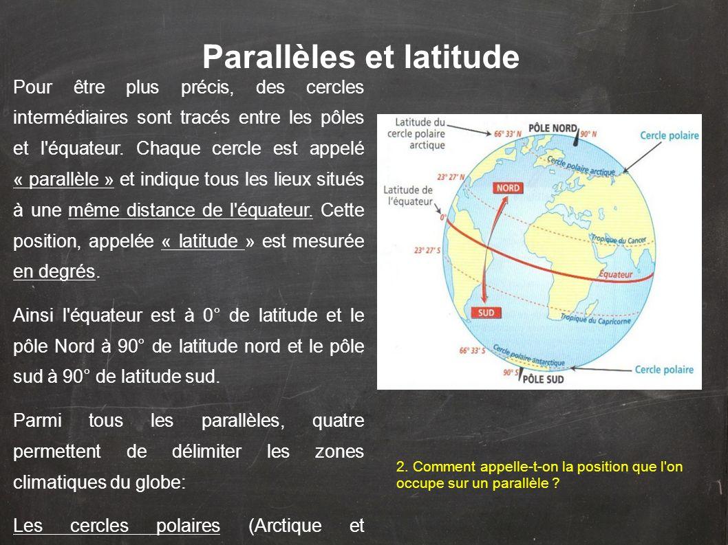 Pour être plus précis, des cercles intermédiaires sont tracés entre les pôles et l'équateur. Chaque cercle est appelé « parallèle » et indique tous le