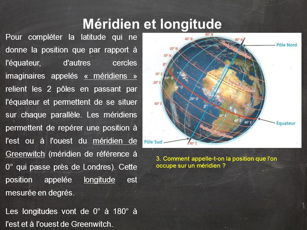 Méridien et longitude Pour compléter la latitude qui ne donne la position que par rapport à l'équateur, d'autres cercles imaginaires appelés « méridie