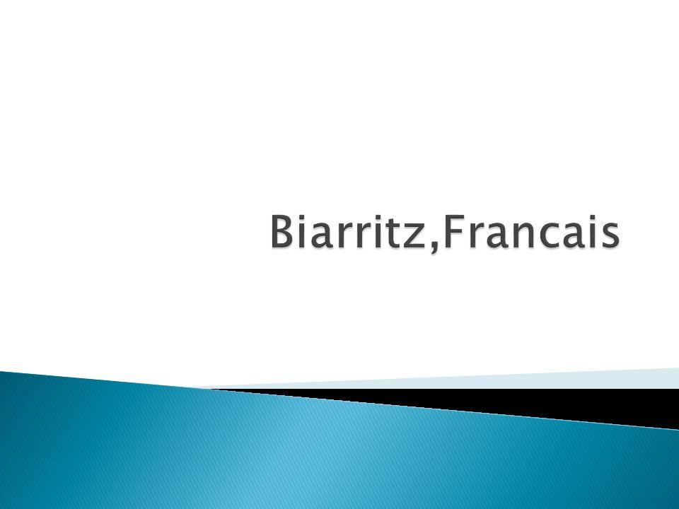Biarritz se trouve au sud dans le France et est à côté de Espagne Biarritz est une grande place pour le surf et cest célèbre pour le plages 27,398 habitants a Biarritz Biarritz est a le département Pyrénées- Atlantiques aucune rivière passe par Biarritz Le transportation a biarritz est tres bon Leur sont des autobus, le train.