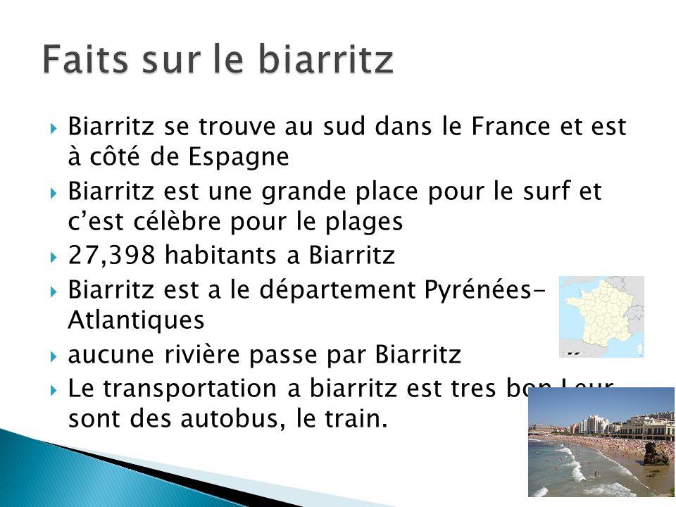 Biarritz se trouve au sud dans le France et est à côté de Espagne Biarritz est une grande place pour le surf et cest célèbre pour le plages 27,398 hab
