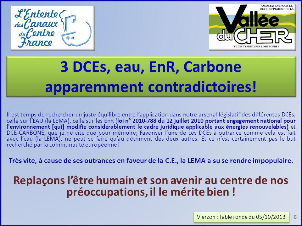 3 DCEs, eau, EnR, Carbone apparemment contradictoires.
