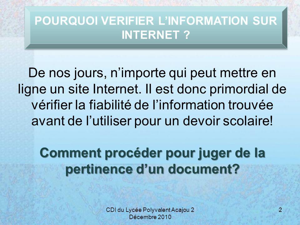 SITES INCONTOURNABLES… 13CDI du Lycée Polyvalent Acajou 2 Décembre 2010 CNIL : http://www.cnil.fr http://www.cnil.fr Le site de la Commission nationale informatique et liberté.