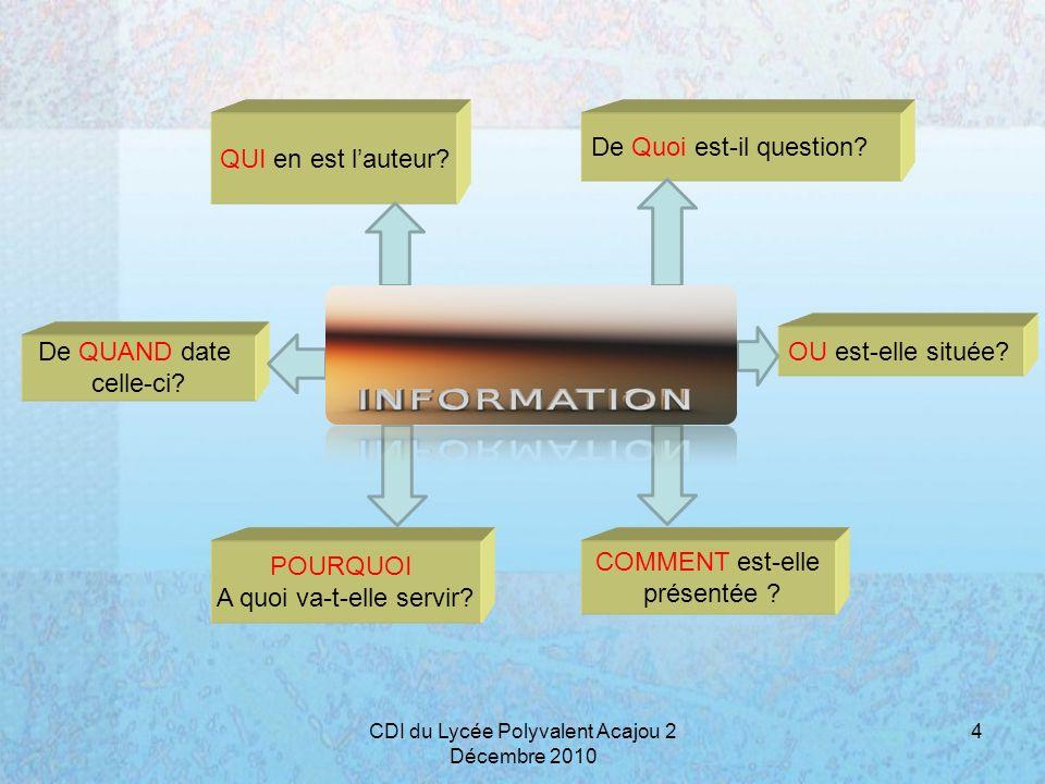 Auteur, organisme Qualité de linformation L auteur est-il identifié .