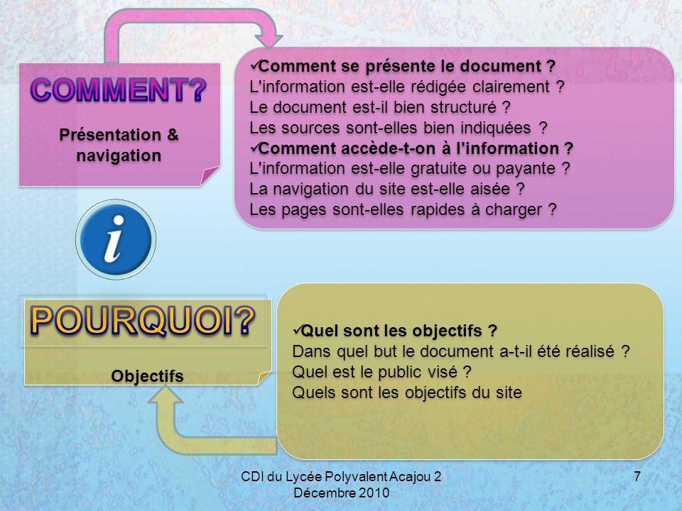 Présentation & navigation Objectifs Comment se présente le document ? L'information est-elle rédigée clairement ? Le document est-il bien structuré ?