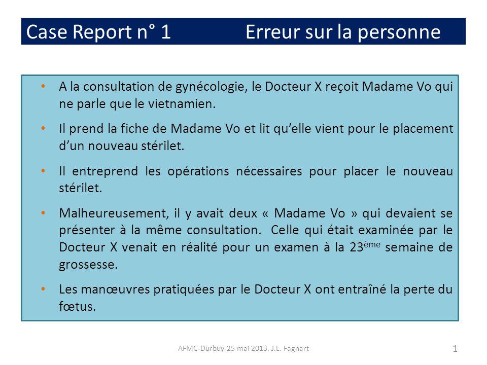 Case Report n° 1 Erreur sur la personne A la consultation de gynécologie, le Docteur X reçoit Madame Vo qui ne parle que le vietnamien. Il prend la fi