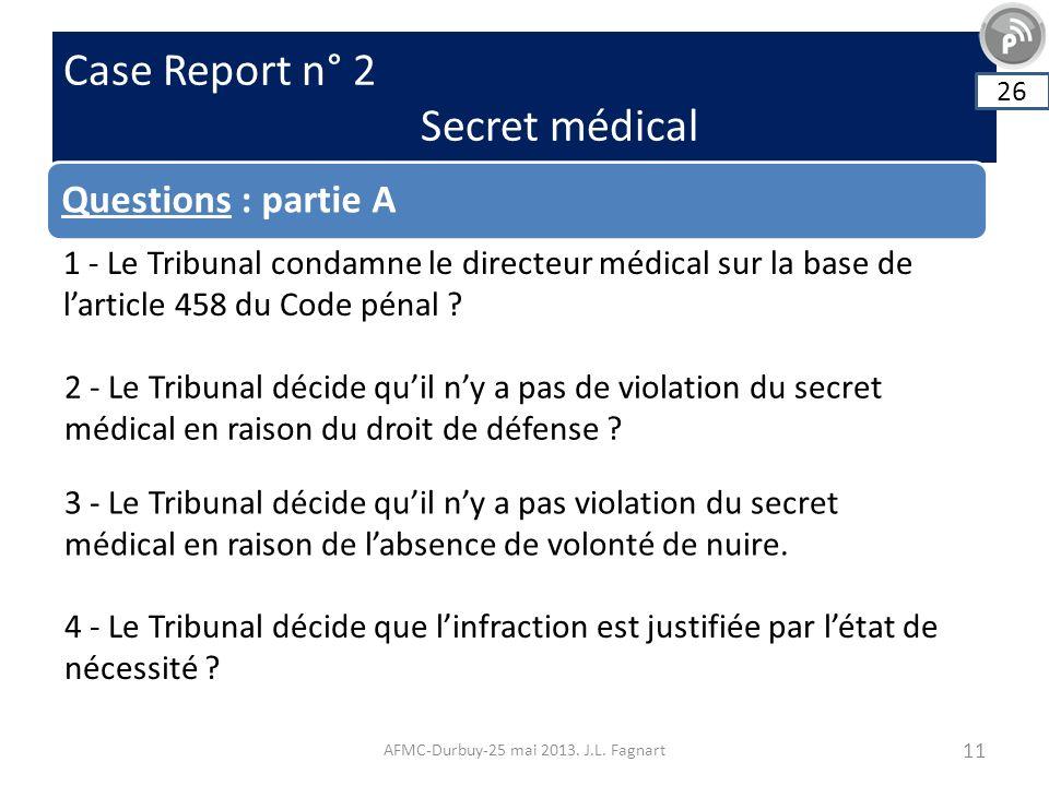 Case Report n° 2 Secret médical AFMC-Durbuy-25 mai 2013. J.L. Fagnart 11 Questions : partie A 26 1 - Le Tribunal condamne le directeur médical sur la