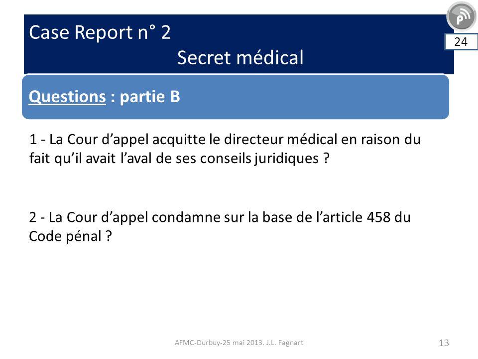Case Report n° 2 Secret médical AFMC-Durbuy-25 mai 2013. J.L. Fagnart 13 Questions : partie B 24 1 - La Cour dappel acquitte le directeur médical en r