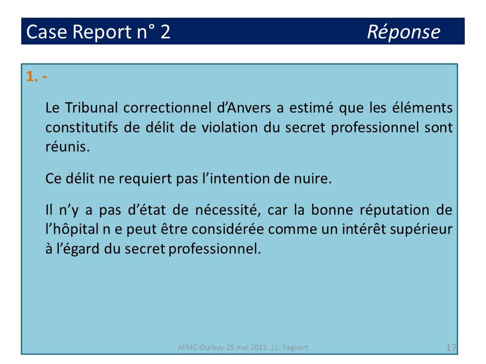 Case Report n° 2 Réponse 1. - Le Tribunal correctionnel dAnvers a estimé que les éléments constitutifs de délit de violation du secret professionnel s