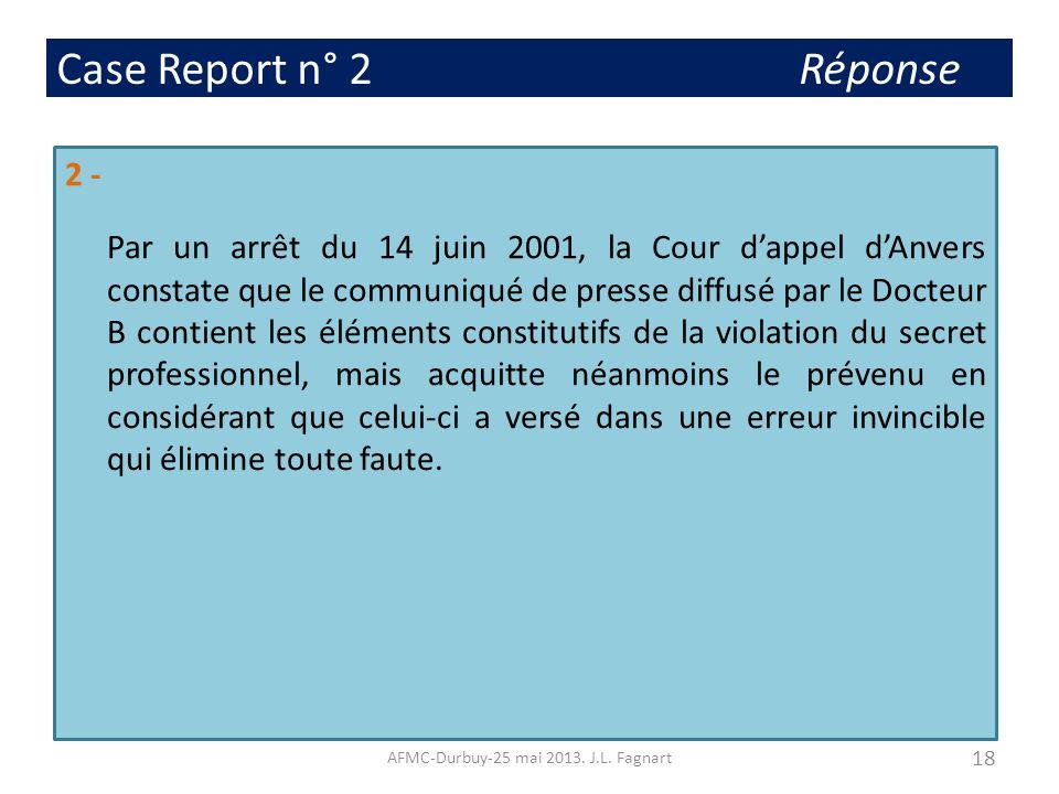 Case Report n° 2 Réponse 2 - Par un arrêt du 14 juin 2001, la Cour dappel dAnvers constate que le communiqué de presse diffusé par le Docteur B contie