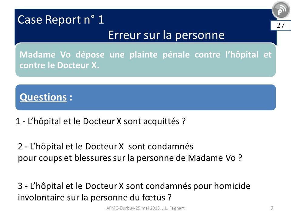 Case Report n° 1 Erreur sur la personne AFMC-Durbuy-25 mai 2013. J.L. Fagnart 2 Madame Vo dépose une plainte pénale contre lhôpital et contre le Docte