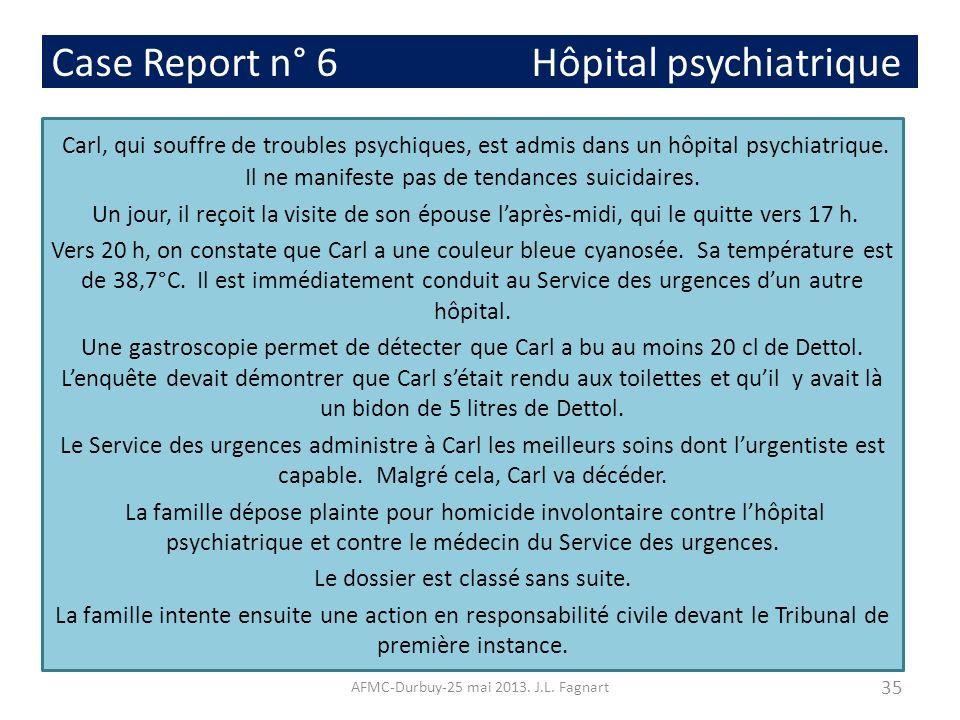 Case Report n° 6 Hôpital psychiatrique Carl, qui souffre de troubles psychiques, est admis dans un hôpital psychiatrique. Il ne manifeste pas de tenda