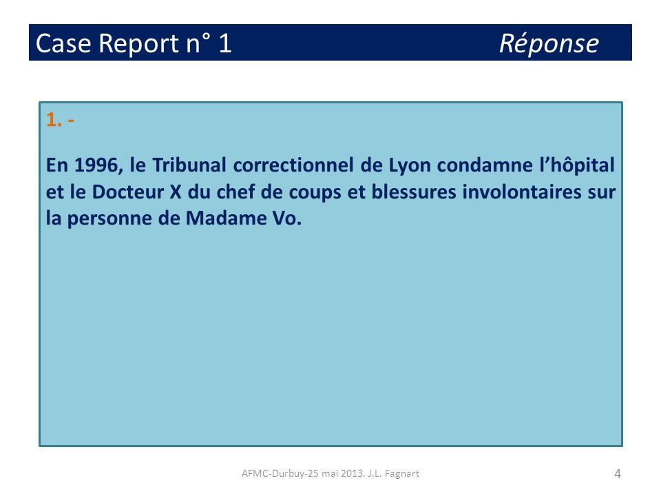 Case Report n° 1 Réponse 1. - En 1996, le Tribunal correctionnel de Lyon condamne lhôpital et le Docteur X du chef de coups et blessures involontaires