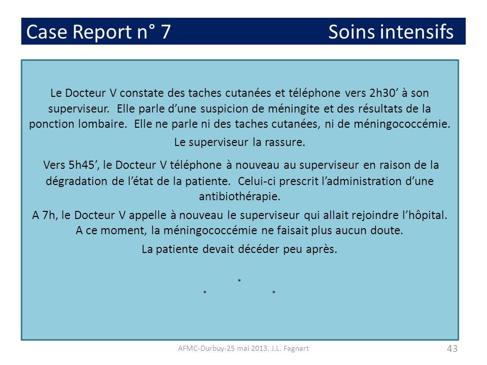 Case Report n° 7 Soins intensifs Le Docteur V constate des taches cutanées et téléphone vers 2h30 à son superviseur. Elle parle dune suspicion de méni