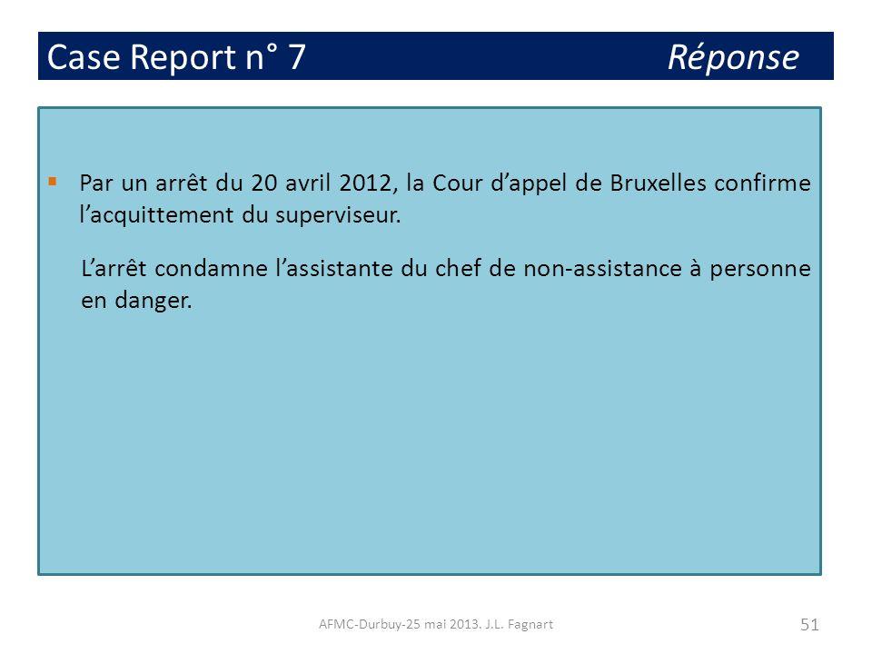 Case Report n° 7 Réponse Par un arrêt du 20 avril 2012, la Cour dappel de Bruxelles confirme lacquittement du superviseur. Larrêt condamne lassistante