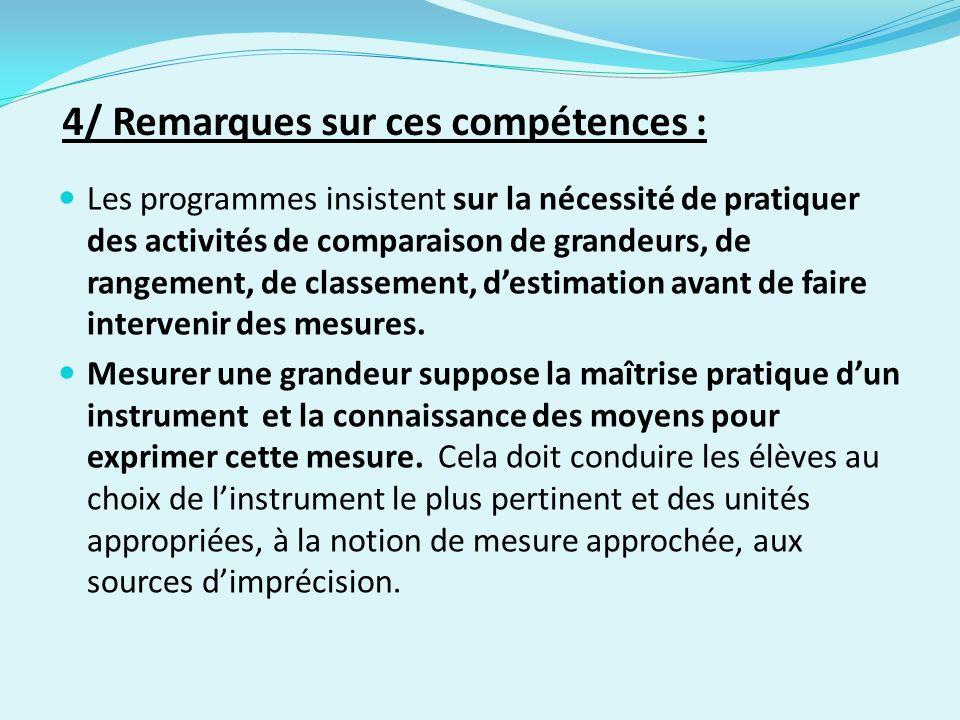 Les programmes insistent sur la nécessité de pratiquer des activités de comparaison de grandeurs, de rangement, de classement, destimation avant de faire intervenir des mesures.