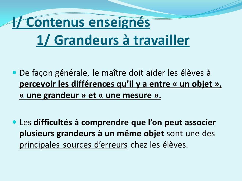 I/ Contenus enseignés 1/ Grandeurs à travailler De façon générale, le maître doit aider les élèves à percevoir les différences quil y a entre « un objet », « une grandeur » et « une mesure ».