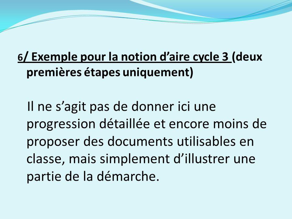 6 / Exemple pour la notion daire cycle 3 (deux premières étapes uniquement) Il ne sagit pas de donner ici une progression détaillée et encore moins de proposer des documents utilisables en classe, mais simplement dillustrer une partie de la démarche.