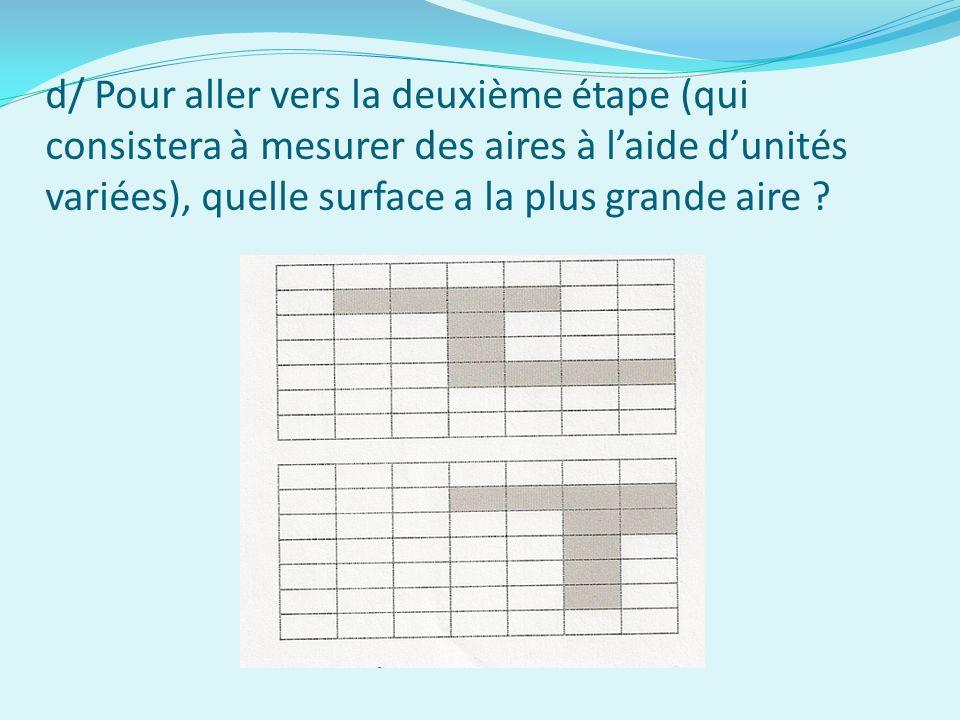 d/ Pour aller vers la deuxième étape (qui consistera à mesurer des aires à laide dunités variées), quelle surface a la plus grande aire ?