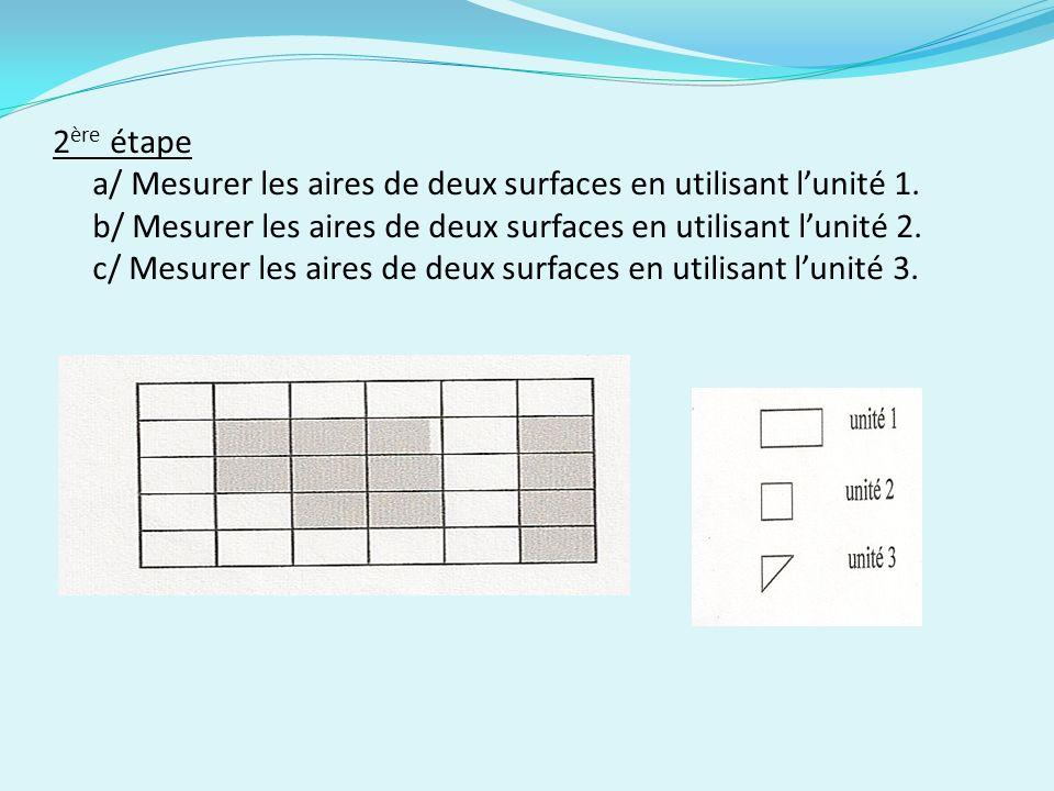 2 ère étape a/ Mesurer les aires de deux surfaces en utilisant lunité 1.