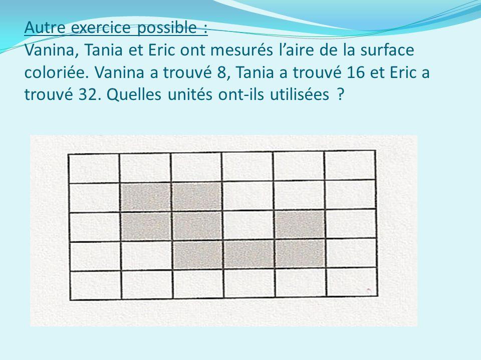 Autre exercice possible : Vanina, Tania et Eric ont mesurés laire de la surface coloriée.