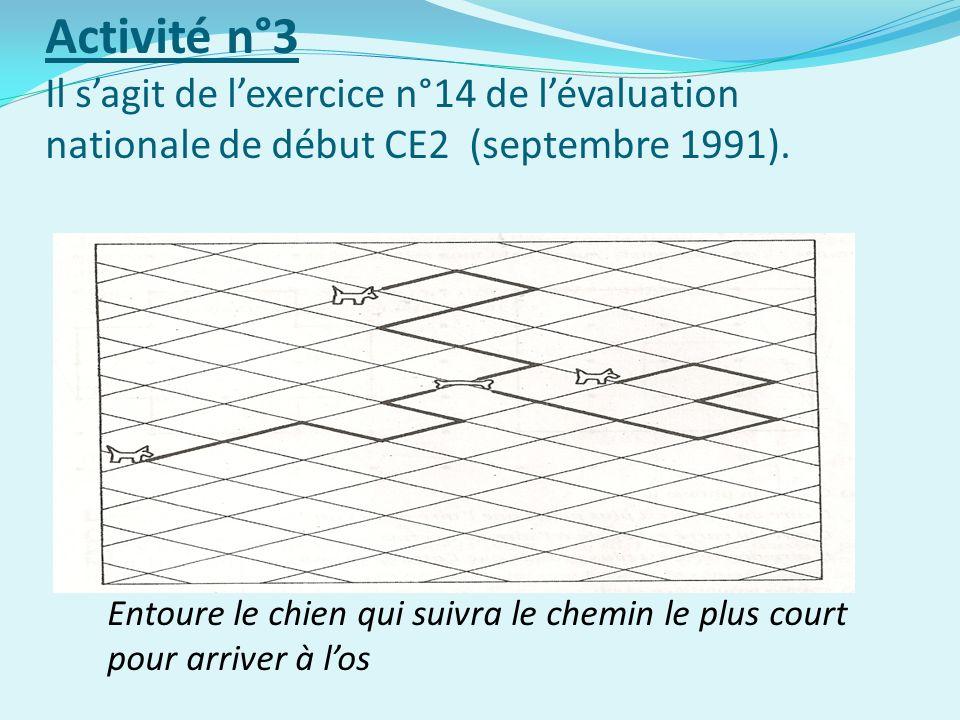 Activité n°3 Il sagit de lexercice n°14 de lévaluation nationale de début CE2 (septembre 1991).