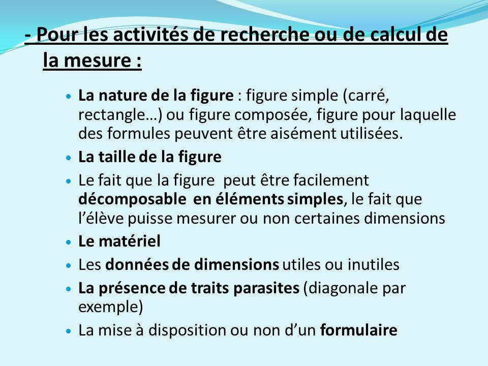 - Pour les activités de recherche ou de calcul de la mesure : La nature de la figure : figure simple (carré, rectangle…) ou figure composée, figure pour laquelle des formules peuvent être aisément utilisées.