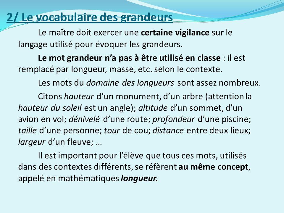 2/ Le vocabulaire des grandeurs Le maître doit exercer une certaine vigilance sur le langage utilisé pour évoquer les grandeurs.