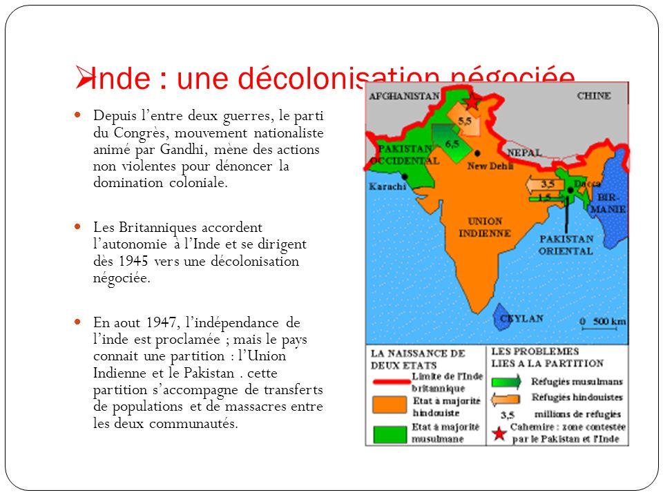 Inde : une décolonisation négociée Depuis lentre deux guerres, le parti du Congrès, mouvement nationaliste animé par Gandhi, mène des actions non viol