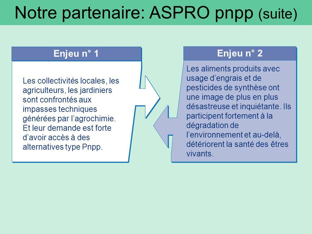 Notre partenaire: ASPRO pnpp (suite) Enjeu n° 1 Enjeu n° 2 Les collectivités locales, les agriculteurs, les jardiniers sont confrontés aux impasses techniques générées par lagrochimie.