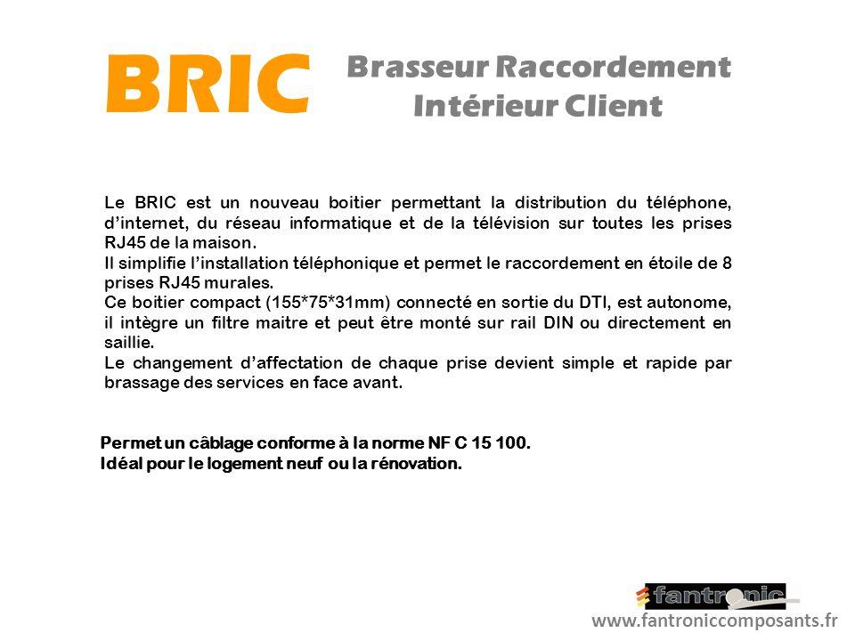 LIGNE INSTALLATION DU BRIC - Le BRIC est connecté en sortie du DTI - Raccordement de 8 prises RJ45 murales sur les connecteurs auto-dénudant (internes au BRIC) www.fantroniccomposants.fr BRIC Brasseur Raccordement Intérieur Client