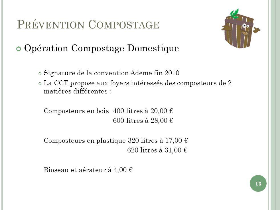 P RÉVENTION C OMPOSTAGE Opération Compostage Domestique Signature de la convention Ademe fin 2010 La CCT propose aux foyers intéressés des composteurs de 2 matières différentes : Composteurs en bois 400 litres à 20,00 600 litres à 28,00 Composteurs en plastique 320 litres à 17,00 620 litres à 31,00 Bioseau et aérateur à 4,00 13