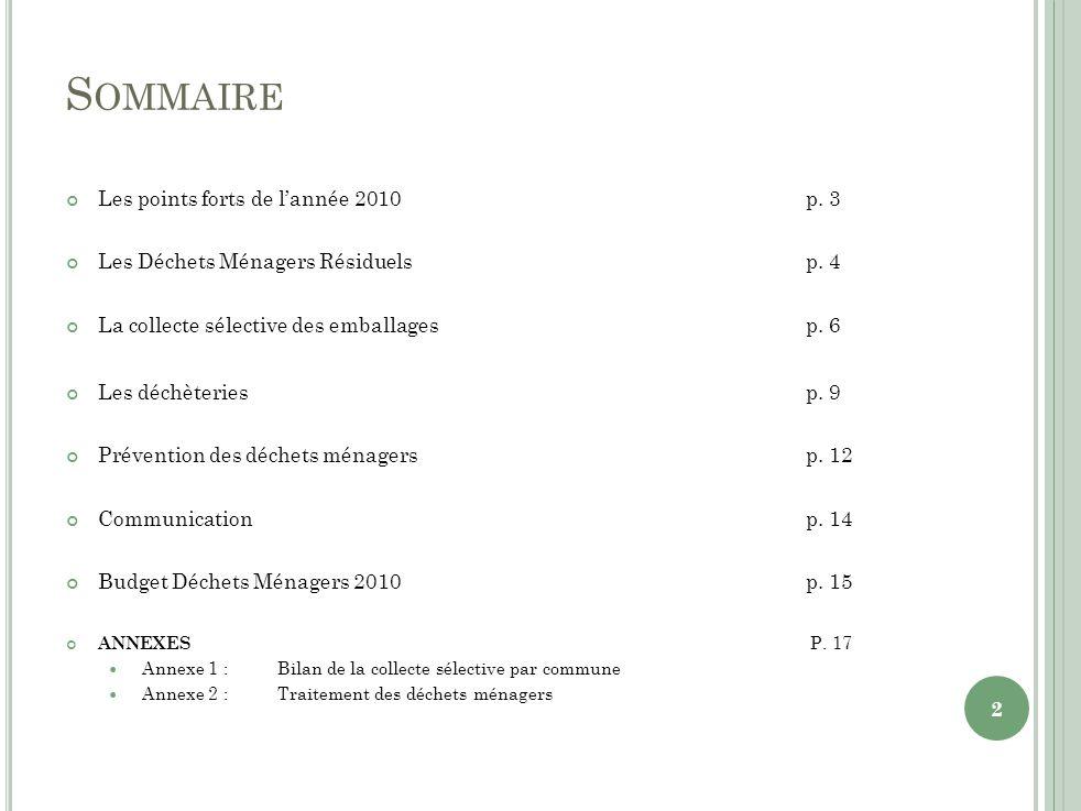 S OMMAIRE Les points forts de lannée 2010p. 3 Les Déchets Ménagers Résiduelsp.
